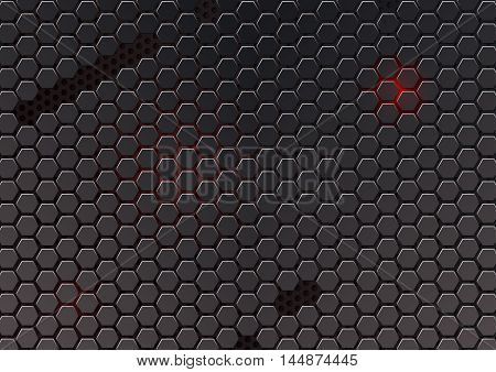 Metal cell composed of hexagons. Abstract geometric metallic background. Carbon steel honeycomb. Vector futuristic background