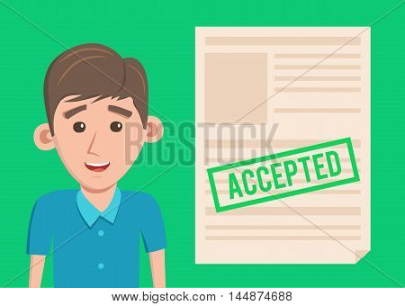 Accepted paper document. Cartoon Vector illustration. Happy man