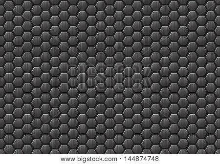 Seamless metallic texture composed of hexagons. Metal honeycombs on a gray background. Vector illustration