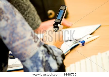 Woman'S Hand Operating Mobile Phone