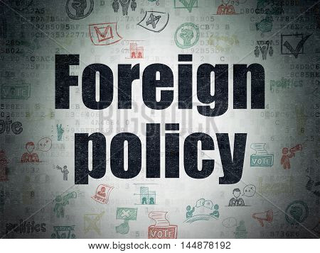 Politics concept: Painted black text Foreign Policy on Digital Data Paper background with   Hand Drawn Politics Icons