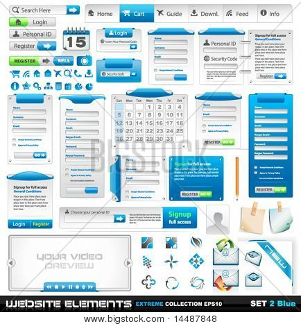 Web design elements extreme collection 2 - Many different form styles, frames, bars, icons, banners, login forms, buttons and so on!