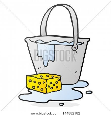 freehand drawn cartoon bucket of soapy water