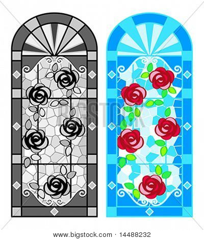 Stained glass floral windows in black-whites and colors
