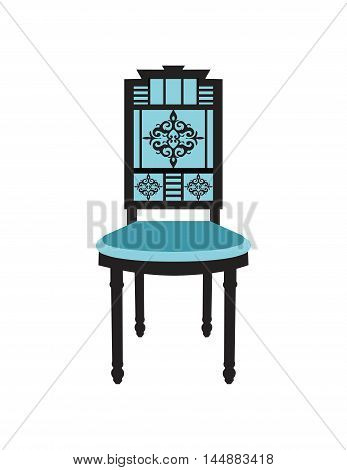 Vintage Chair furniture Vector. Rich carved ornaments furniture. Vector Victorian Style furniture. Royal blue color sketch