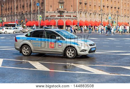 ST. PETERSBURG, RUSSIA - JULY 31 2016: Russian police patrol car of the State Automobile Inspectorate parked on the city street in summer day