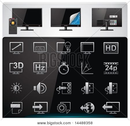 Vector TV features and specifications icon set. Part 2 (bw, minimalistic)