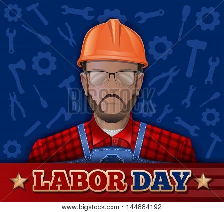 Poster for Labor Day with bearded man in a helmet goggles and working clothes