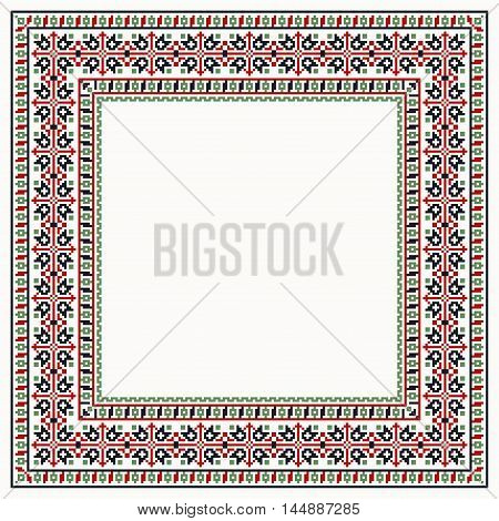 Cross-stitch stylization frames colorful collection square borders
