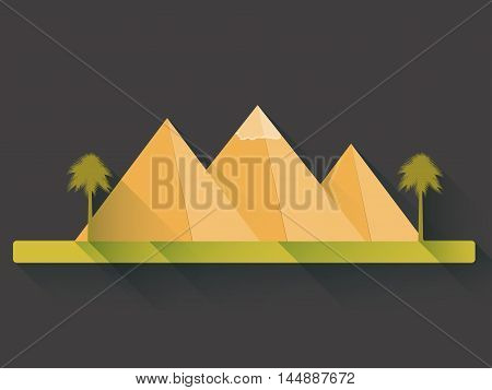 Egyptian Pyramids In Flat Style With Long Shadows. Landscape With The Egyptian Pyramids. Vector Illu