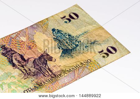 50 Lesotho loti bank note. Lesotho loti is the national currency of Lesotho