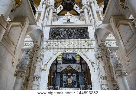 SANTO DOMINGO, DOMINICAN REPUBLIC - JANUARY 30: Mausoleum of Christopher Columbus Lighthouse. Taken in January 30 2016, in east zone of Santo Domingo, Dominican Republic.