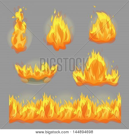 A collection of flaming fire design graphic elements, sparkling hot campfire and seamless fire stripe for game and graphic design.
