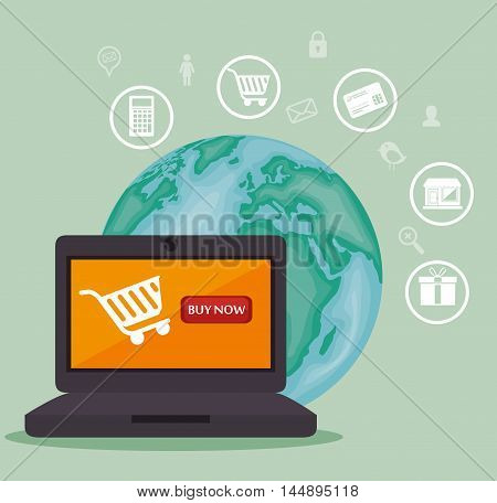 web shopping ecommerce online icon vector illustration design