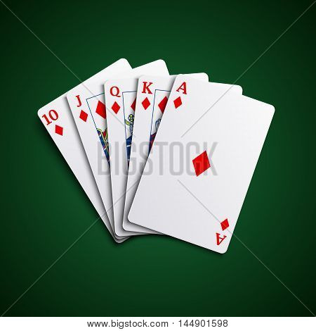 Poker cards flush diamonds hand vector eps 10