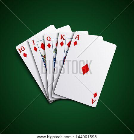 Poker cards flush diamonds hand vector eps 10