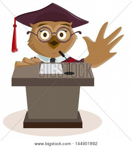 Owl professor said from podium. Isolated on white vector cartoon illustration