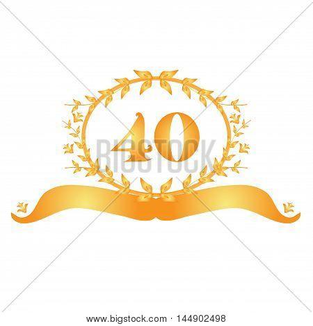 40th anniversary golden floral banner design element