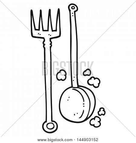 freehand drawn black and white cartoon old fireside tools