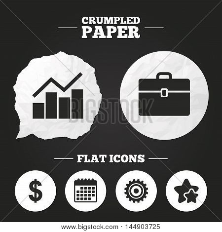Crumpled paper speech bubble. Business icons. Graph chart and case signs. Dollar currency and gear cogwheel symbols. Paper button. Vector