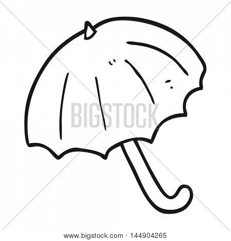 freehand drawn black and white cartoon umbrella