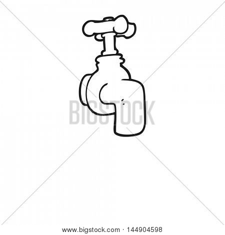 freehand drawn black and white cartoon running faucet