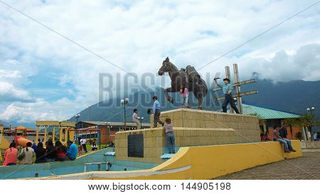 Baeza, Napo / Ecuador - January 16 2016: View of the monument to the peasant in a park in the town of Baeza