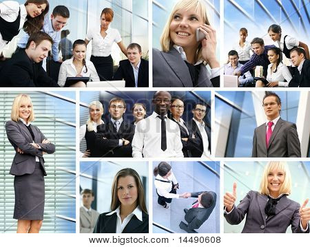 Business collage made of many different pictures about finances, time, money, real estate and relations