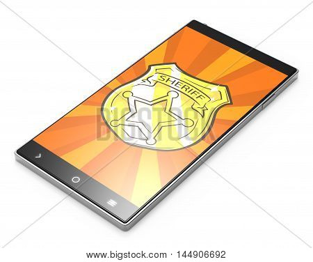 Illustration of Black 3D smartphone with sheriff badge on white background