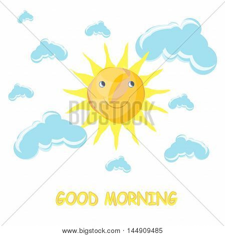 Fanny cartoon vector illustration Good Morning, yellow and orange smiling sun,  blue clouds on white