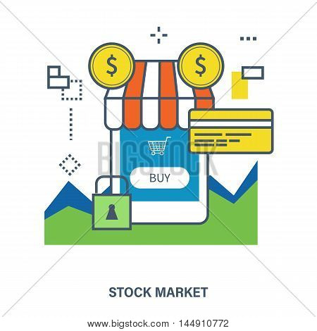 Concept of mobile marketing and stock market. Color Line icons. Flat Vector illustration