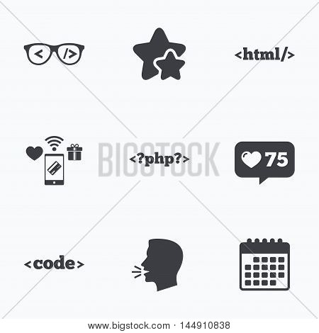 Programmer coder glasses icon. HTML markup language and PHP programming language sign symbols. Flat talking head, calendar icons. Stars, like counter icons. Vector