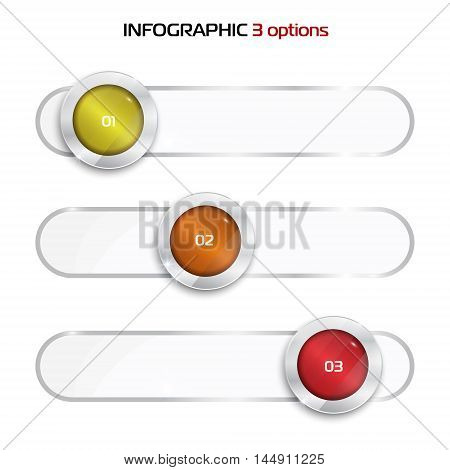 elements for infographic. Template for diagram, graph, presentation. Business concept with 3 options, parts, steps or processes. One two three - progress steps vector button