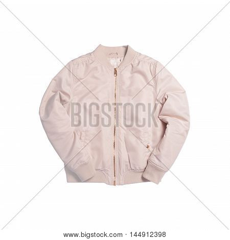 Beige color female bomber jacket isolated on white