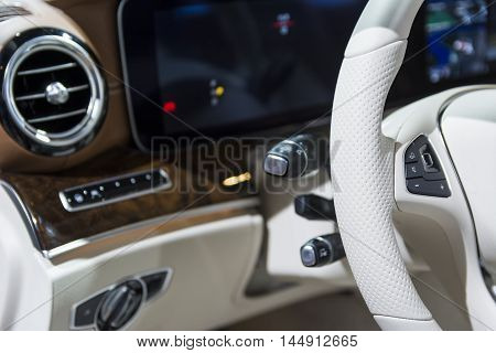 Car wheel light leather. Small depth of field. Stock photo