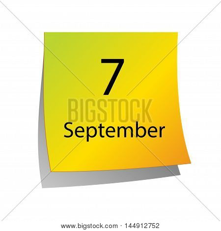 The seventh of September in Calendar icon on white background