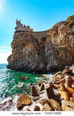 Swallow's nest is a decorative castle the monument of architecture and history. the Black sea coast in Yalta, Republic of Crimea, Russia