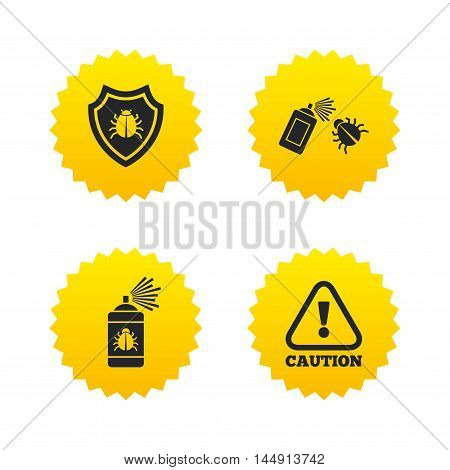 Bug disinfection icons. Caution attention and shield symbols. Insect fumigation spray sign. Yellow stars labels with flat icons. Vector