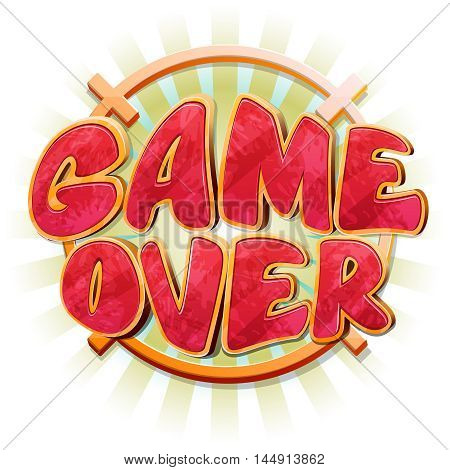 Game over message in vector cartoon style. Failure message, end sign, final game design, play game over illustration poster