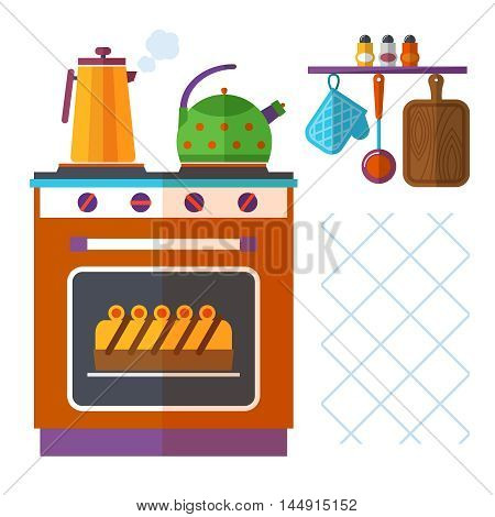 Home kitchenware vector concept with stove, kettle, coffee pot and cake. Appliance utensil, domestic oven, breakfast and boiling kettle illustration