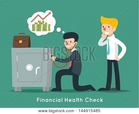 Businessman check financial or money health with stethoscope. Vector business concept. Businessman finance, financial doctor, wealth safe illustration