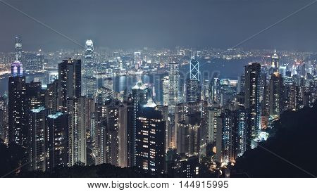 Panoramic Night Skyline Skyscrapers Cityscape