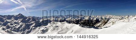 Alpine Fresh Snow Mountains Panoramic View