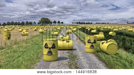 Nuclear Waste Radioactive Trash Garbage Barrels.