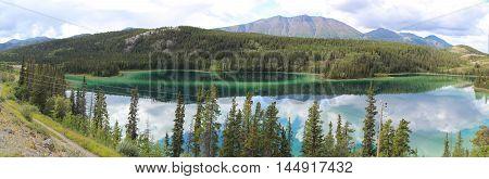 Emarald Lake. Yukon. Carcross. Lake Panoramic View.