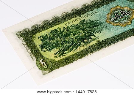 5 kip bank note. Kip is the national currency of Laos.