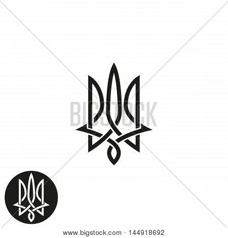 Trident Logo Monogram, Ukraine Emblem Print Mockup, Overlapping Black And White Thin Line Design Ele
