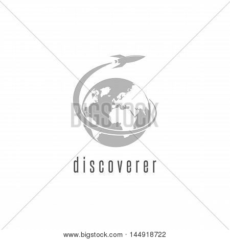 Rocket logo world discovery space shuttle spaceship International Day Human Space Flight emblem