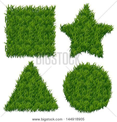 Green grass vector banners set. Grass design banner, nature grass pattern, shape grass form ilustration