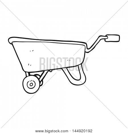freehand drawn black and white cartoon wheelbarrow